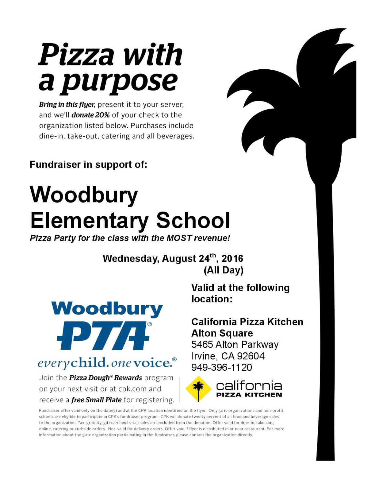 woodbury pta california pizza kitchen dine out night 8 24