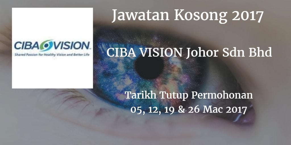 Jawatan Kosong CIBA VISION Johor Sdn Bhd 05, 12 19 & 26 Mac 2017