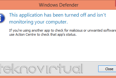 Mengaktifkan Windows Defender This Application Has Been Turned Off anda Isn't Monitoring Your Computer