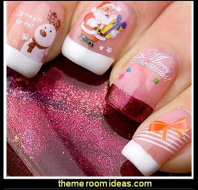 Christmas Nail Art Water Transfers Decals Santa Snowmen Bells Reindeer