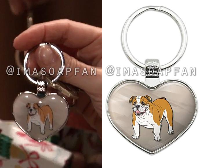 Anna Devane, Finola Hughes, English Bulldog Heart Keychain, General Hospital, GH