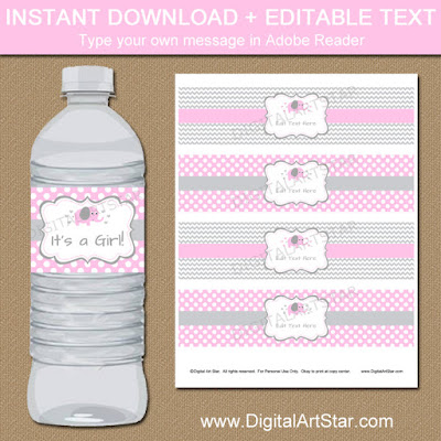 printable pink elephant water bottle labels with editable text - use for party decorations or party favors