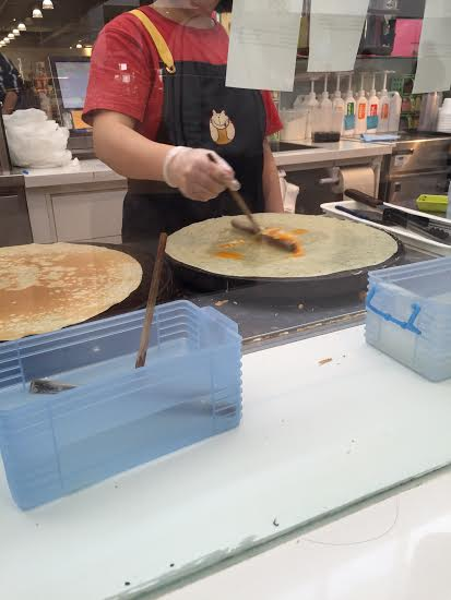 embedded egg in crepe;  crepe village