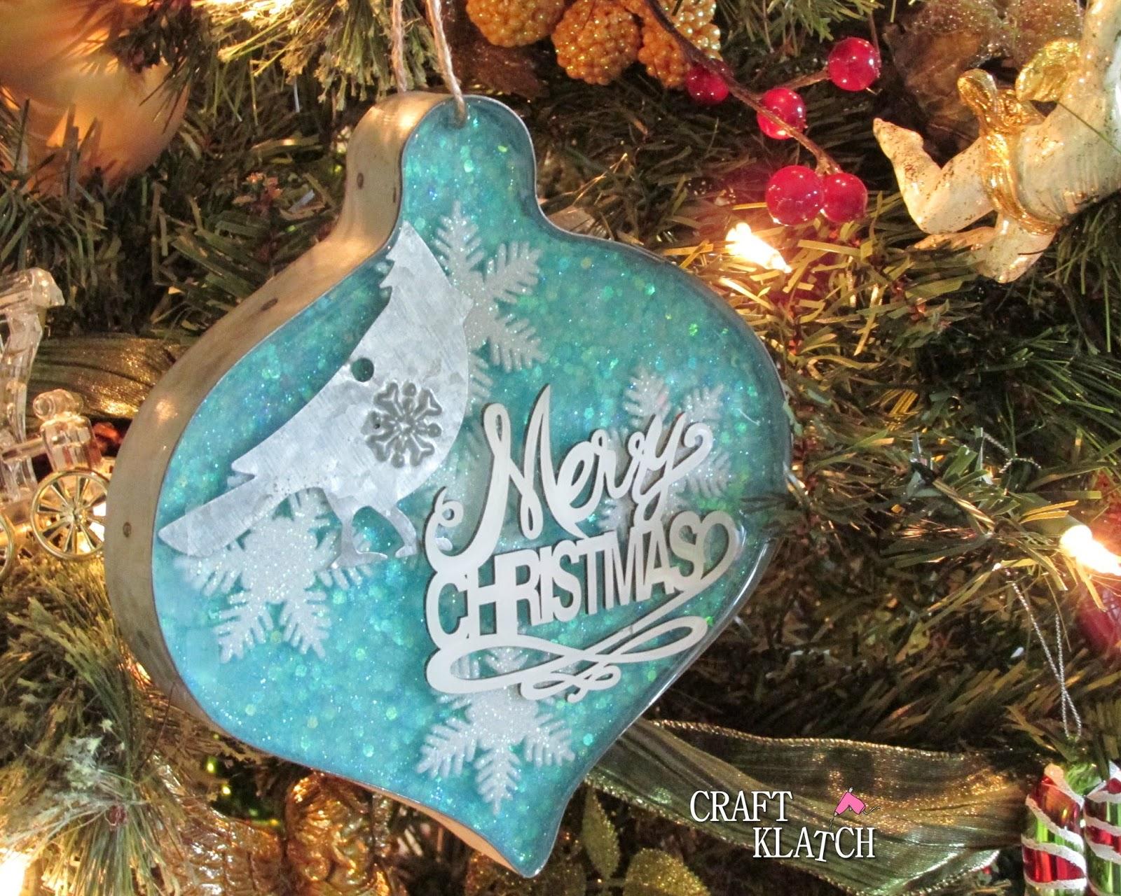 Resin Christmas Ornaments.Craft Klatch Glitter Resin And Metal Christmas Ornament
