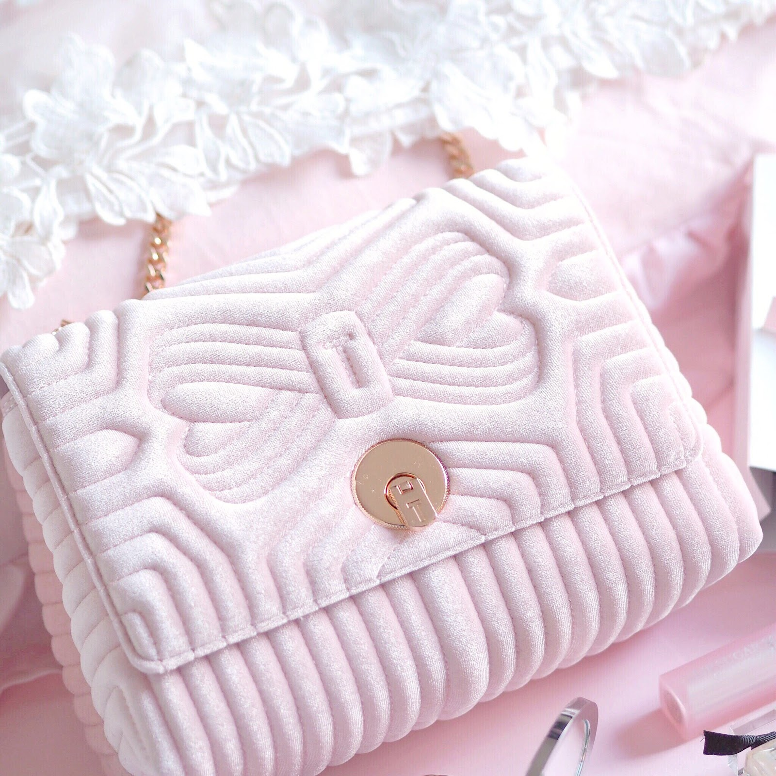Ted Baker Pink Quilted Velvet Bag | What I Got Treated To On Christmas Day