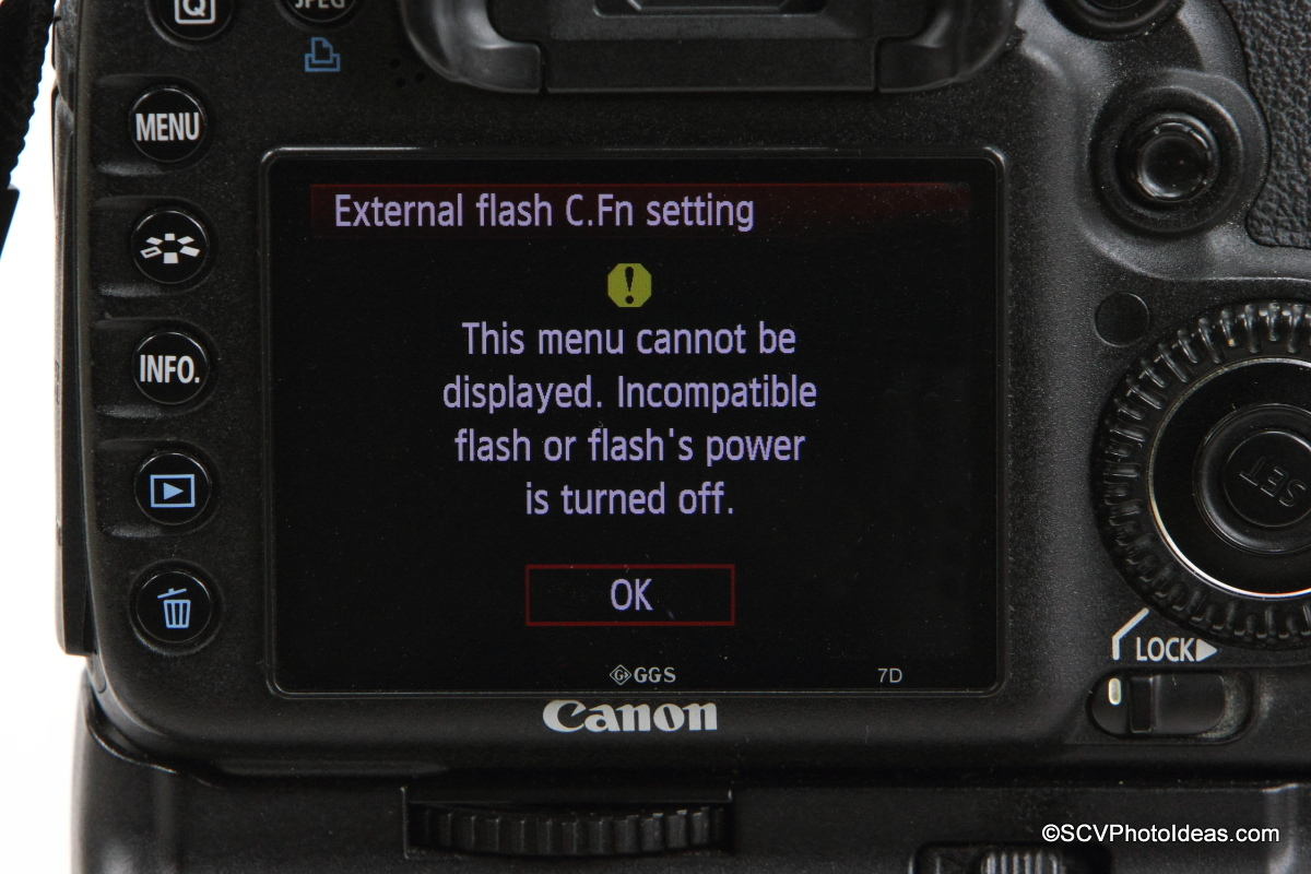 Canon Speedlite 580EX on camera flash C.Fn, Settings