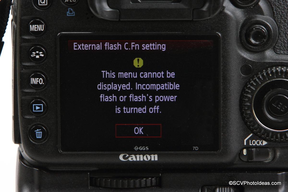Canon Speedlite 580EX on camera flash C.Fn, Settings
