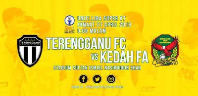 Live Streaming Terengganu FC vs Kedah Liga Super 27 April 2018