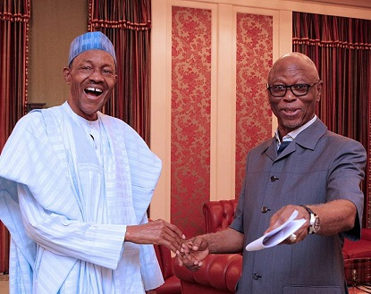 President Muhammadu Buhari and Chief John Odigie-Oyegun Today In Aso Rock