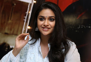 Keerthy Suresh in White Dress with Cute and Awesome Lovely Smile at Mahanati Promotions 14