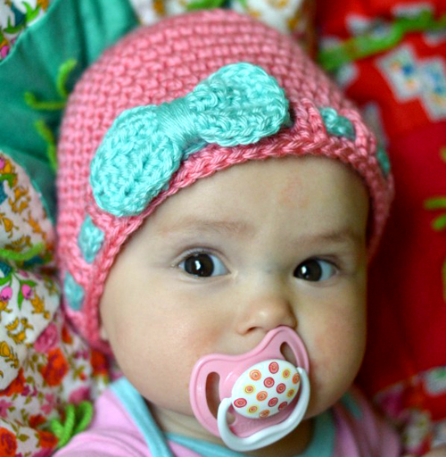 Faux Ribbon Baby Hat - Free Pattern
