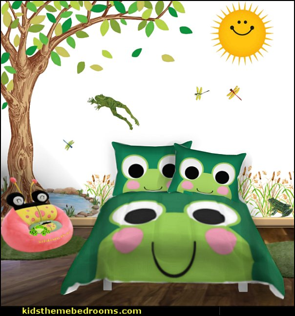 frog theme bedrooms - frog bedroom decor - frog theme decor - frog bedding - frog themed gifts - froggy wallpaper frog murals - frog wall decals - frogs in a pond wall decor -  Frog Prince decor - pond theme decals - frog duvet set - decorating frog theme - frog theme for baby nursery - frog pond baby nursery - frog pond playroom furniture