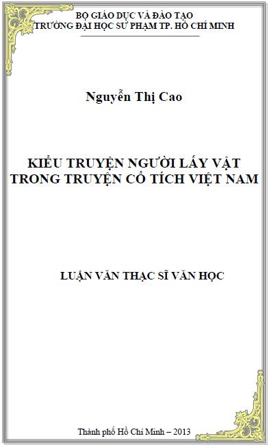 Kiểu truyện người lấy vật trong truyện cổ tích Việt Nam