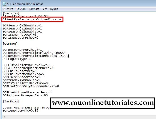 Verificación de serial en el archivo scf