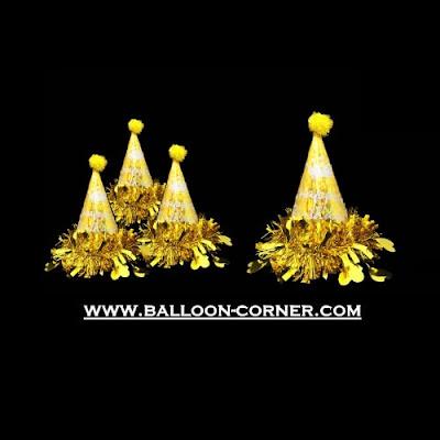 Topi Ulang Tahun Anak Kerucut Hologram (Gold)