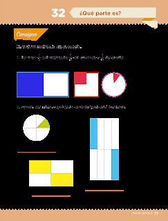 Respuestas Apoyo Primaria Desafíos matemáticos 3ro. Grado Bloque III Lección 32 ¿Qué parte es?