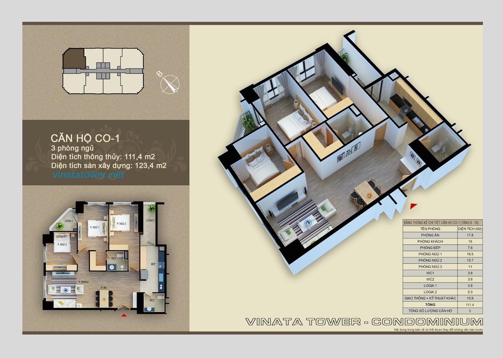 Thiết kế chi tiết căn 01 chung cư Vinata Towers: 11,4m2, 3PN,2VS
