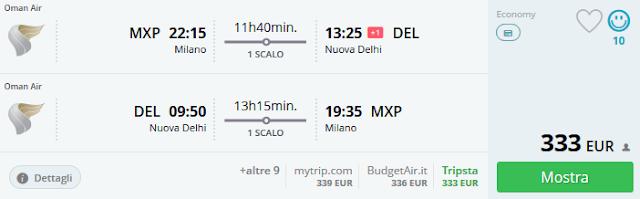 Milano (MXP) - Nuova Delhi a/r a 333 €