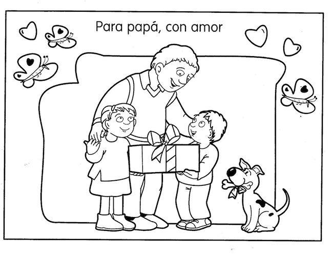 Dibujos Del Dia Del Padre Coloreados: Dibujos Para Pintar: Dibujo Día Del Padre Para Pintar