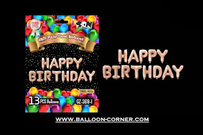 Balon Foil Huruf HAPPY BIRTHDAY Rose Gold