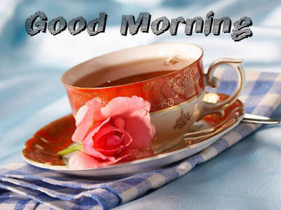 tea cup with rose good morning whatsapp image