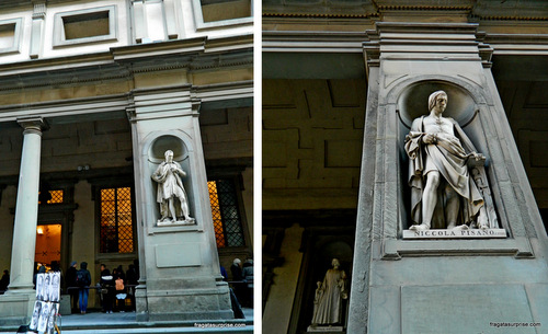 Estátuas de grandes artistas decoram a fachada exterior da Galleria degli Uffizi, Florença
