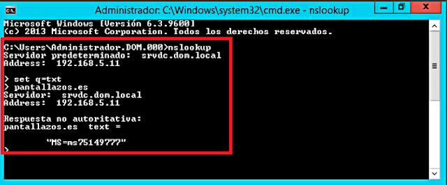 Microsoft Windows: NSLookUp - Nslookup set q=txt