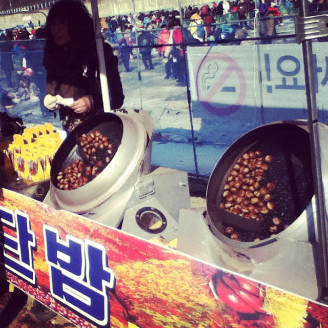 Roasting chestnuts for sale at The Hwacheon Ice Festival in Korea | Lindsay Eryn