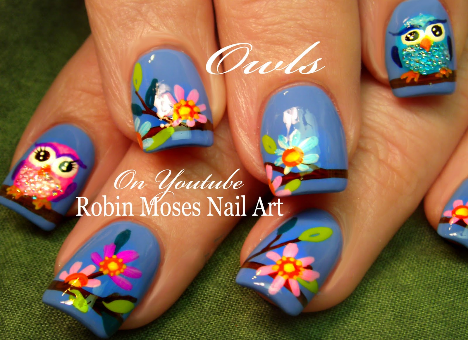 Nail Art By Robin Moses Spring Owl Nail Art Design Tutorial Owl