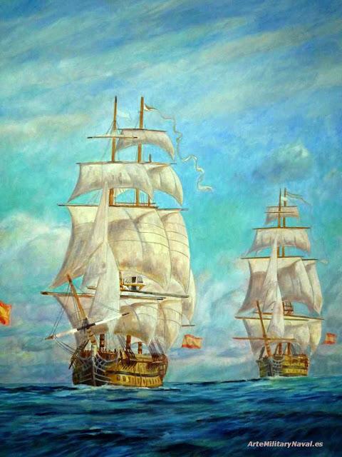 Oleo Convoy navíos siglo XVIII