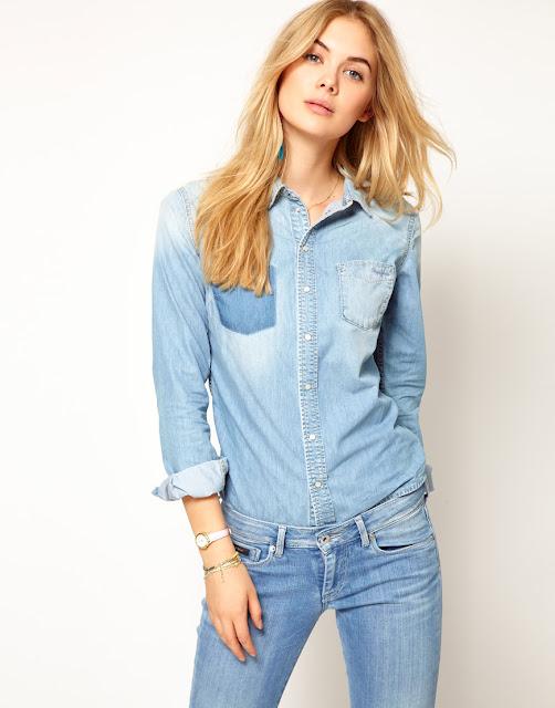 Kemeja Denim Biru Jeans Wanita Import