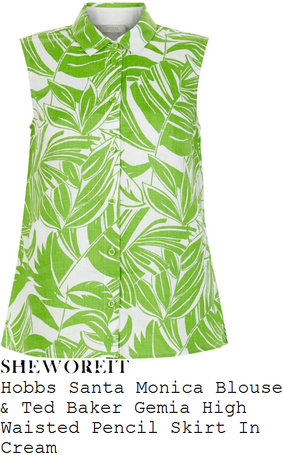 holly-willoughby-hobbs-santa-monica-white-and-green-palm-tree-leaf-print-sleeveless-button-up-blouse-and-ted-baker-gemia-cream-high-waisted-split-front-pencil-skirt