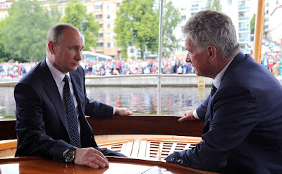 Vladimir Putin with President of Finland Sauli Niinisto.