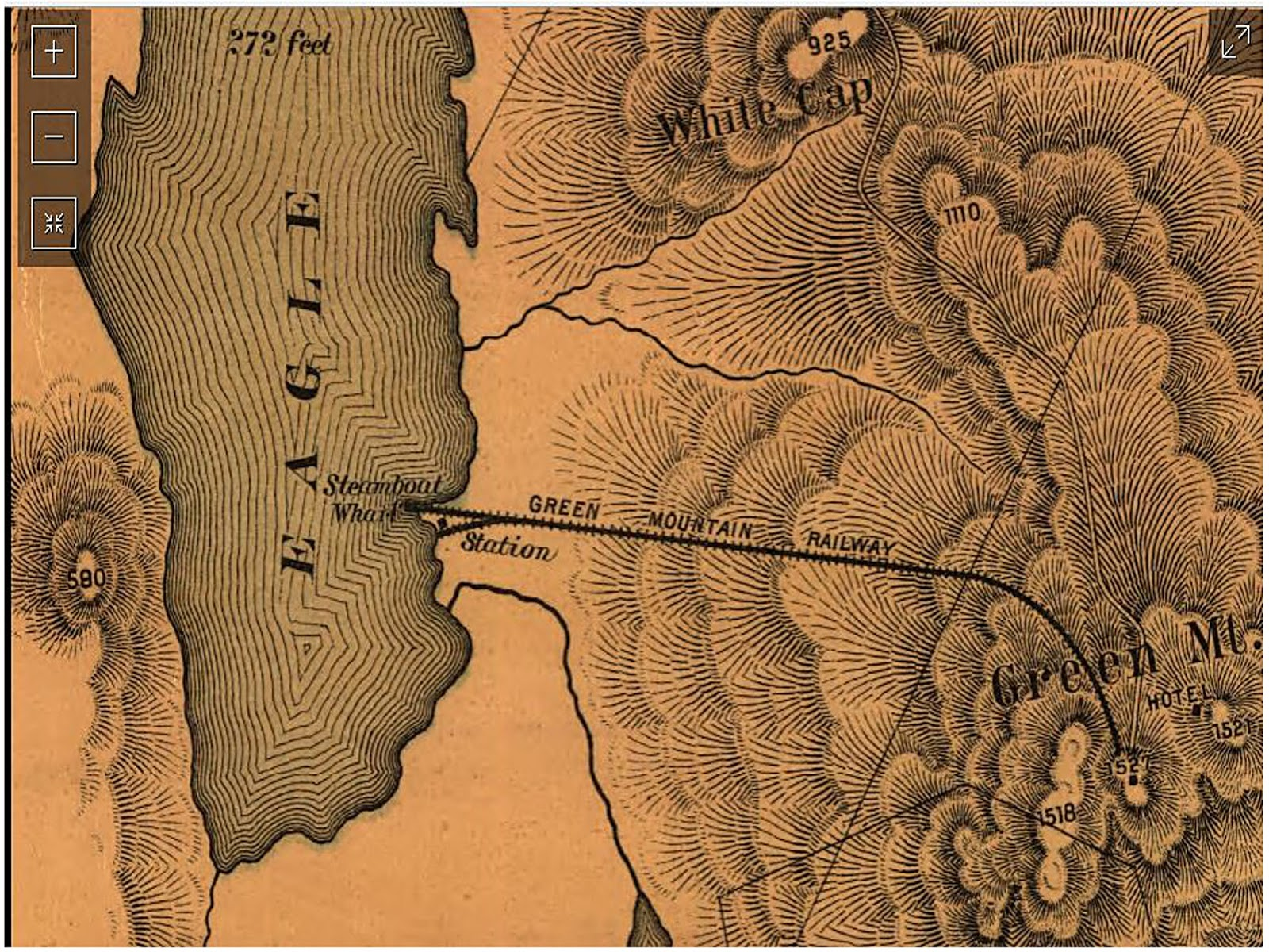 on this old map you can clearly see how the tracks extended out onto that narrow strip of land which is a short ways from the wooden bridge and the brook