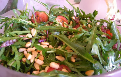 Rocket Lettuce and Tomato Salad with Pin Nuts