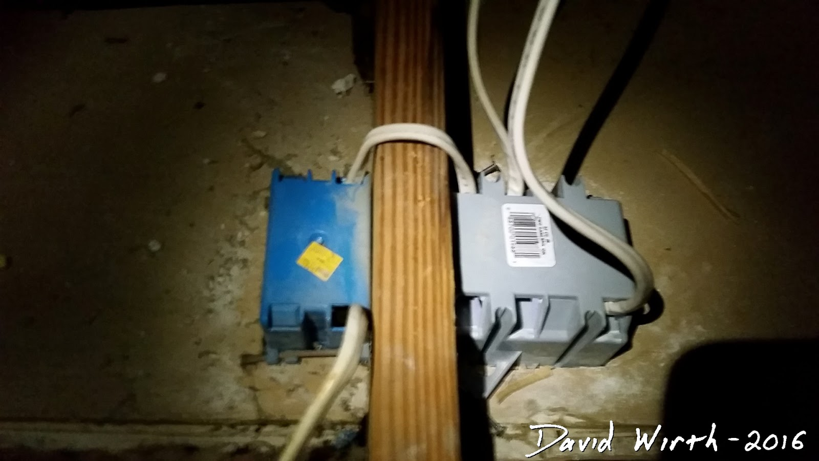 attic fan install pilot switch override so back up to the attic take off the old switch that i temporarily taped to a truss and run a wire to the new box i traced where the double outlet