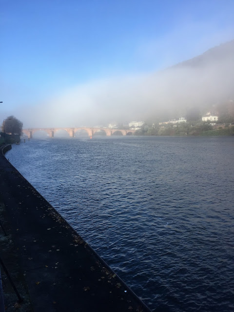 Foggy Old Bridge Heidelberg and Neckar River
