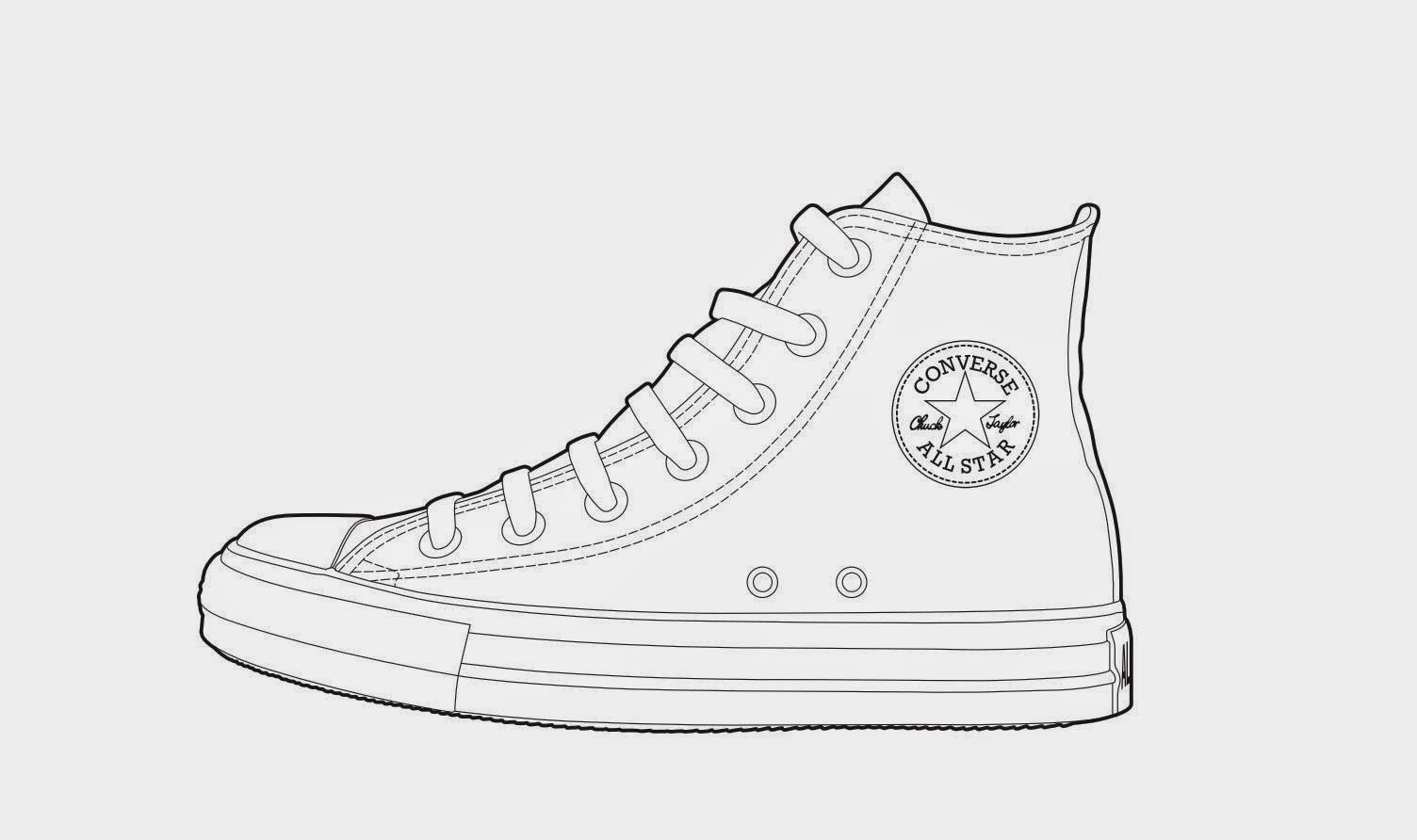 Converse Shoes Stencil Drawing