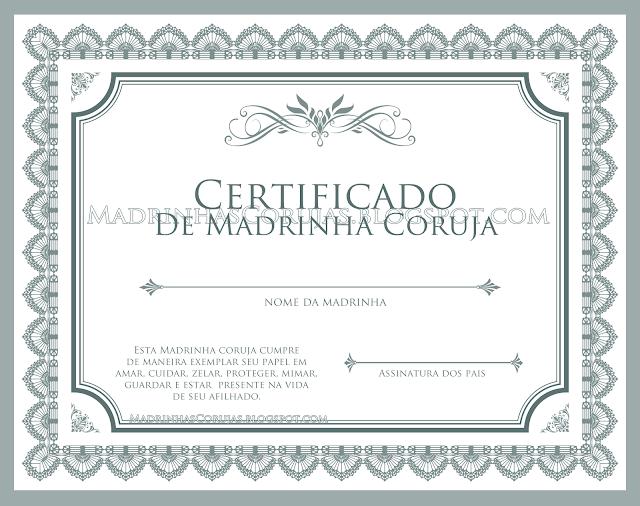 Certificado de Madrinha Coruja - Diploma de Madrinha