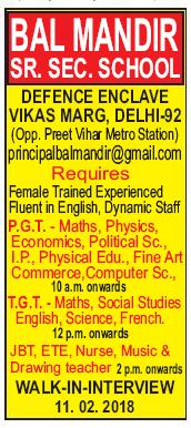 Bal Mandir Sr Sec School Delhi wanted PGT plus TGT - Faculty