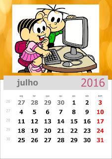 Calendário Turma da Mônica 2016 Julho