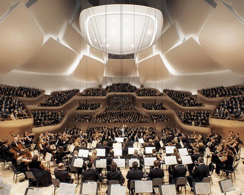 www.Tinuku.com MAD Architects shows facade jade and lotus flowers design China Philharmonic Hall in Beijing