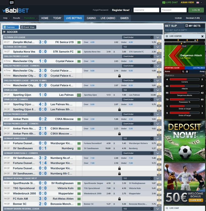 Babibet Live Betting Screen