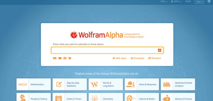 Wolfram Alpha homepage