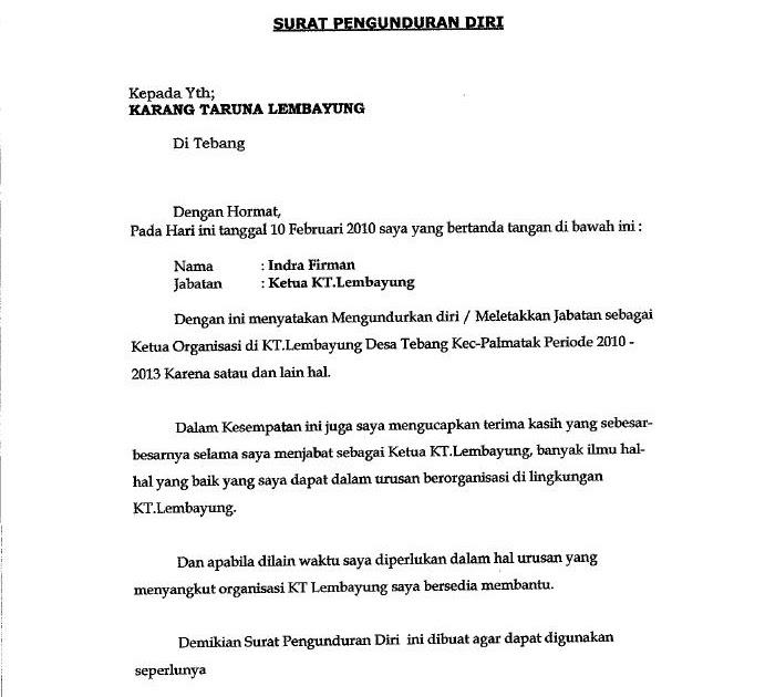Contoh Surat Pengunduran Diri Dari Organisasi Paskibra