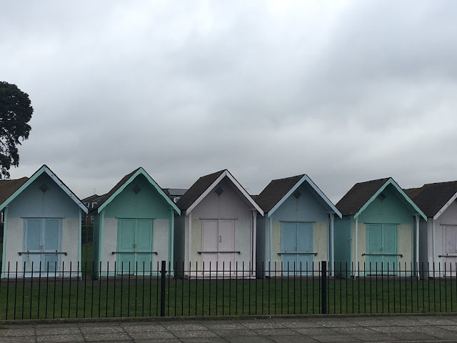 pastel beach huts in Southsea, Portsmouth, UK
