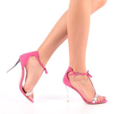 Sandale dama Cedra fuchsia elegante pentru ocazii cu toc transparent