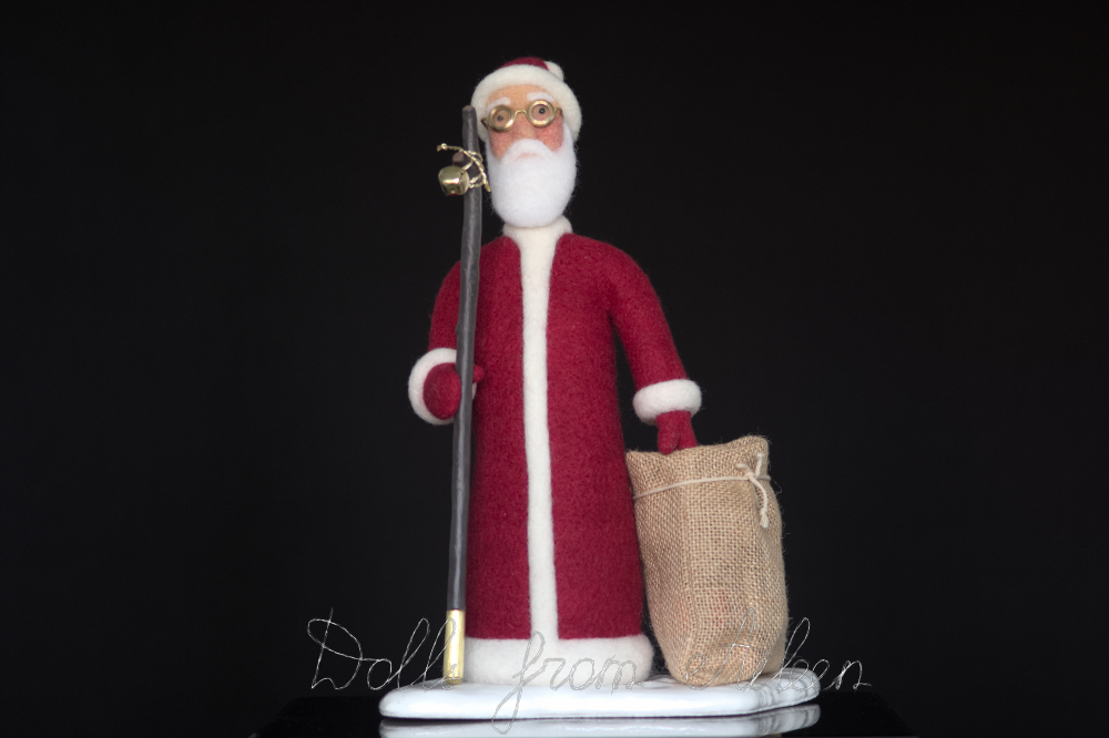 OOAK needle felted Santa Claus doll, front view