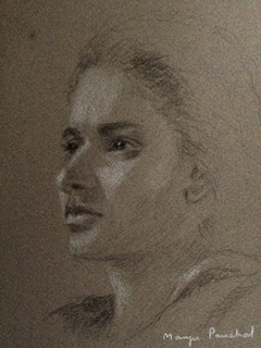 A charcoal and white pastel study work on Canson Mi Teintes paper by Manju Panchal
