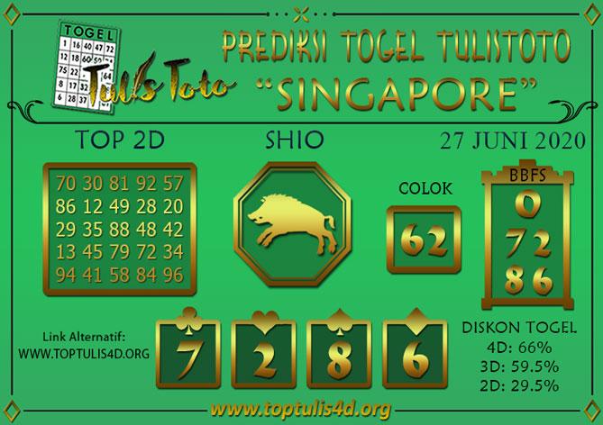 Prediksi Togel SINGAPORE TULISTOTO 27 JUNI 2020